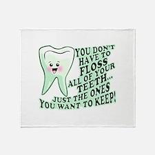 Funny Dental Hygiene Throw Blanket