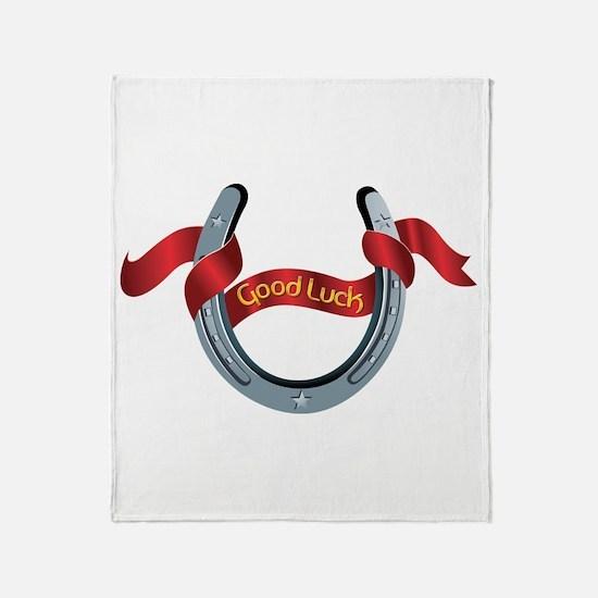 Horseshoe Good Luck Throw Blanket