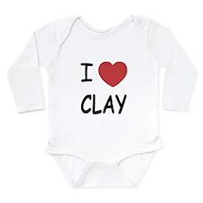 I heart clay Long Sleeve Infant Bodysuit