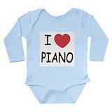 Baby boy grand piano Long Sleeves Bodysuits