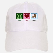 Peace Love Ice Skating Baseball Baseball Cap