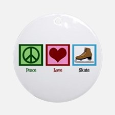 Peace Love Ice Skating Ornament (Round)