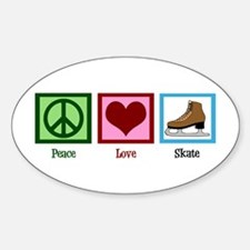 Peace Love Ice Skating Sticker (Oval)