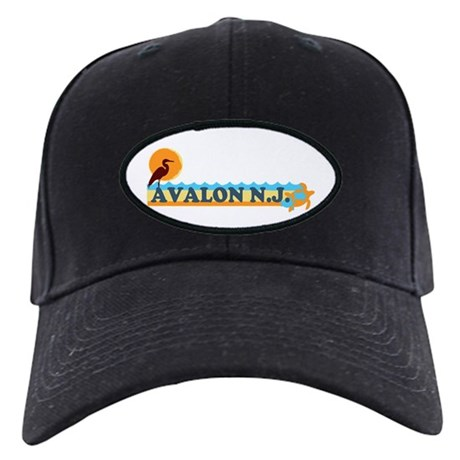 Avalon NJ - Beach Design Black Cap
