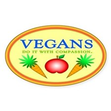 Vegans Do It... Oval Decal
