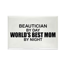 World's Best Mom - Beautician Rectangle Magnet