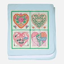 4-Hearts Cross-Stitch baby blanket