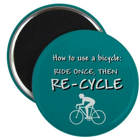 "Green Bicycle Recycle 2.25"" Magnet (10 pack)"
