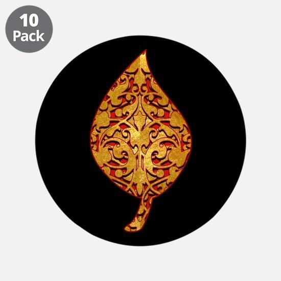 """Gold Leaf """"Leaf"""" 3.5"""" Button (10 pack)"""