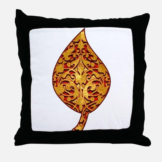 """Gold Leaf """"Leaf"""" Throw Pillow"""