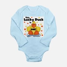 Lucky Duck 1st Birthday Long Sleeve Infant Bodysui