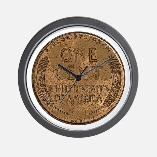 Lincoln Wheat Reverse Wall Clock