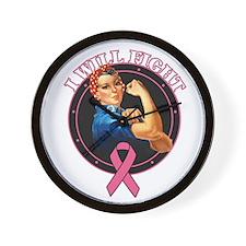 BreastCancer IWillFight Wall Clock