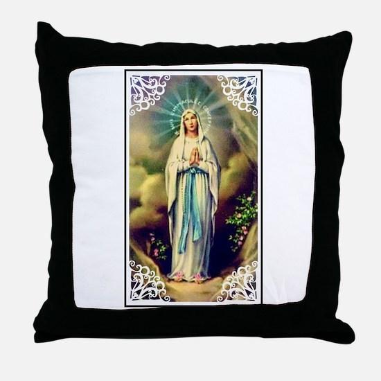 Virgin Mary - Lourdes Throw Pillow