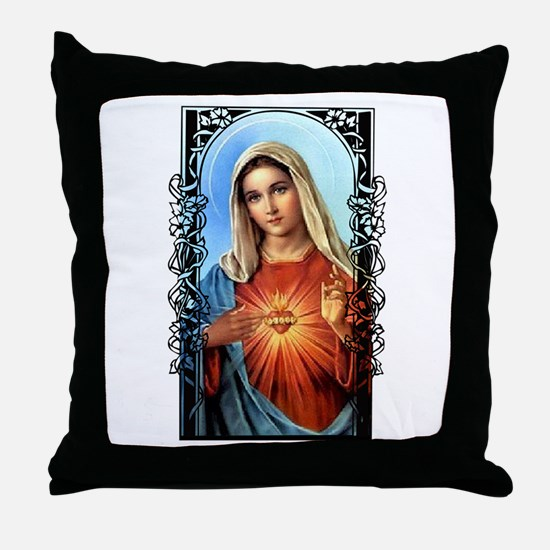 Virgin Mary - Sacred Immaculate Heart Throw Pillow