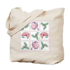 Merry Christmas Collage Quilt Tote Bag