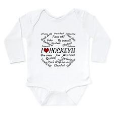 I Love Hockey Long Sleeve Infant Bodysuit