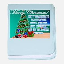 Hockey Christmas Cards & Gift baby blanket