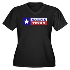 Native Texan Women's Plus Size V-Neck Dark T-Shirt