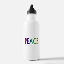 Peace word rainbow Water Bottle