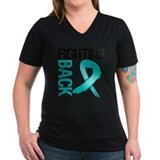Teal cancer ribbon Womens V-Neck T-shirts (Dark)