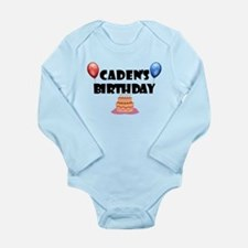 Caden's Birthday Long Sleeve Infant Bodysuit