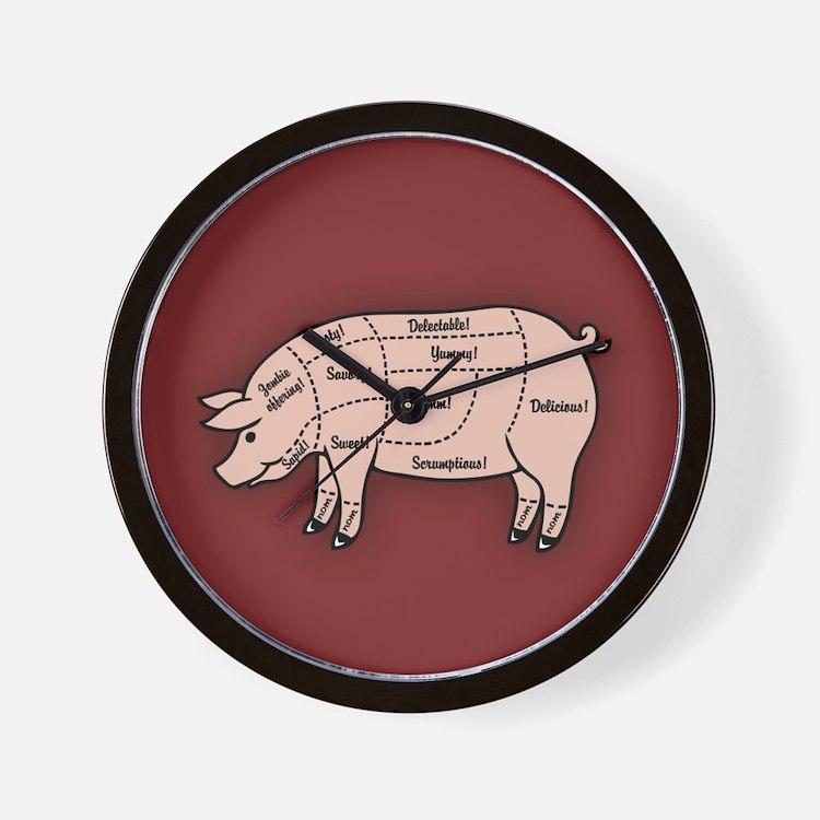 Pork Cuts 1 Wall Clock
