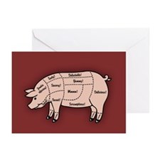 Pork Cuts 1 Greeting Cards (Pk of 10)
