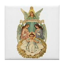 Vintage Christmas Art Tile Coaster, Angels & J