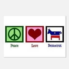 Peace Love Democrat Postcards (Package of 8)