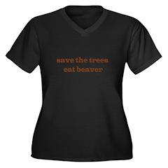 Save The Trees Eat A Beaver Women's Plus Size V-Ne