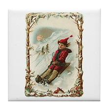 Vintage Christmas Post Card Art Tile Coaster