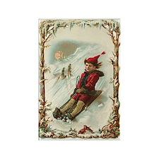 Vintage Christmas Post Card Art Rectangle Magnet