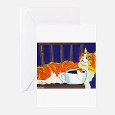 Orange Coffee Cat Greeting Cards (Pk of 10)