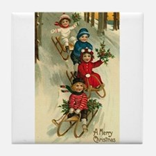 Vintage Christmas Post Card Art Tile Coaster