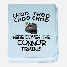 Connor Train baby blanket