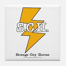 Strange City Heroes Logo Tile Coaster
