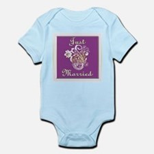 Purple Floral Wedding Invitat Infant Bodysuit