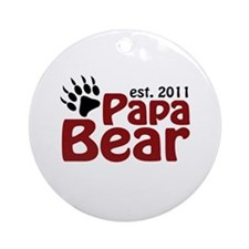 Papa Bear Est 2011 Ornament (Round)
