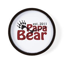 Papa Bear Est 2011 Wall Clock