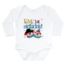 Clown 1st Birthday Long Sleeve Infant Bodysuit