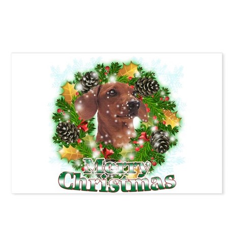 Merry Christmas Dachshund Postcards (Package of 8)