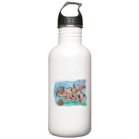 Map Of Sicily Stainless Water Bottle 1.0L