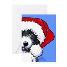 Santa Bearded Collie Greeting Cards (Pk of 20)
