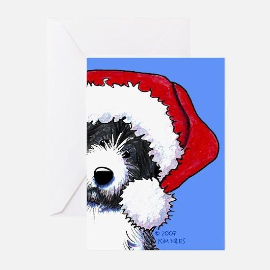 Santa Bearded Collie Greeting Cards (Pk of 20)