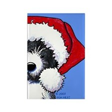 Santa Bearded Collie Rectangle Magnet