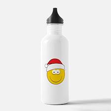 Santa Smiley Face Water Bottle