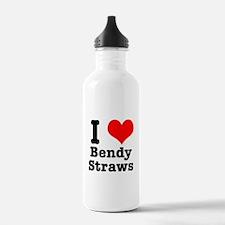 I Heart (Love) Bendy Straws Water Bottle