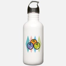 Retro Argyle Bowling Design Water Bottle