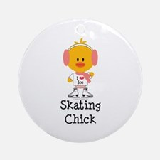 Ice Skating Chick Ornament (Round)
